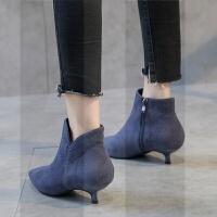高跟短靴裸靴女秋2018新款小跟短靴女秋冬加绒高跟鞋低跟靴子女鞋SN2184