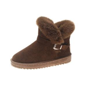 WARORWAR新品YM161-c-1冬季欧美平底舒适兔毛女士雪地靴