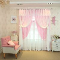 韩式蕾丝窗帘成品公主风遮光窗纱卧室现代简约飘窗客厅