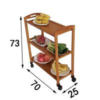 楠竹厨房置物架落地实木微波炉架子火锅菜架蔬菜架储物收纳用品 板面三层长70 G 带轮