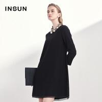 INSUN/恩裳商场同款羊毛毛边袖口H版型下摆拼纱宽松中长款连衣裙