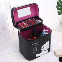 简约少女心韩国化妆包卡通大容量双层化妆箱手提护肤品方形收纳盒