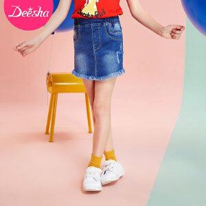 【99元3件专区】笛莎童装女童2018夏季新款牛仔短裤毛边处理假两件裙裤