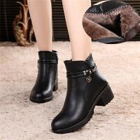 冬季妈妈棉鞋加绒保暖短靴女冬季中年人女士短筒靴中跟粗跟皮鞋女 黑色 985加棉