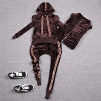 冬双面绒运动套装女加绒加厚棉马甲韩版卫衣三件套装