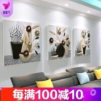 沙发背景墙装饰画客厅三联画卧室装饰壁画餐厅无框挂画立体浮雕画