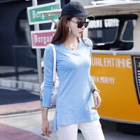 秋季新款韩版开衩中长款长袖T恤V领打底女式上衣