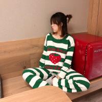 草莓条纹软绵绵睡衣套装女冬可爱韩版加厚加绒保暖秋冬长袖家居服 绿色 均码