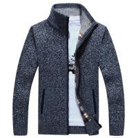 战地吉普2017秋冬季男士针织衫青年羊毛衫宽松大码加绒加厚保暖半高领开衫