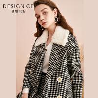 【参考到手价:540元】千鸟格羊毛大衣女短款西装领迪赛尼斯2019冬季新款双排扣毛呢外套