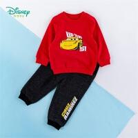 迪士尼Disney童装 男童运动套装纯棉圆领肩开卫衣仿牛仔裤子两件套中小童2020年春秋季新品