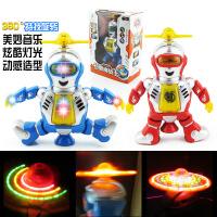 儿童创意电动跳舞机器人灯光旋转发光音乐模型玩具