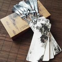 烟雨江南水墨中国风古典纸质书签流苏穗子 创意复古精美礼盒礼品