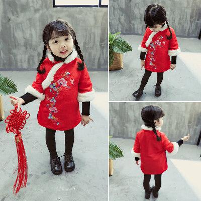 汉服女童中国风秋冬装周岁婴儿拜年服新年装过年喜庆女宝宝唐装冬 红色