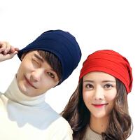 帽子女秋冬季韩国套头帽针织帽月子帽堆堆帽男士全棉薄款冬天保暖