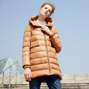 颜域品牌女装外套2017冬季中长款长袖直筒拉链轻薄连帽纯色羽绒服