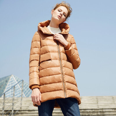 颜域品牌女装外套2017冬季中长款长袖直筒拉链轻薄连帽纯色羽绒服连帽设计,保暖性好