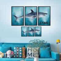 组合墙贴卧室客厅个性房间装饰墙上贴画墙壁贴纸海报 鲨鱼组合相框 特大