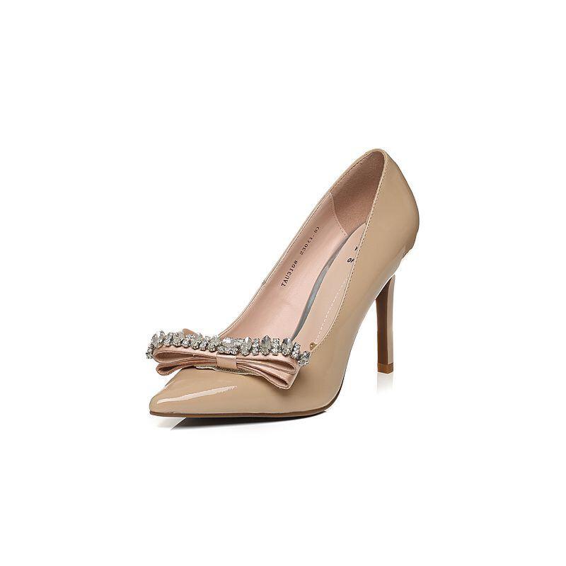 Tata/他她秋漆牛皮水晶蝴蝶结尖头鞋细高跟浅口女鞋U310DCQ6