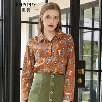 海贝2018秋季新款女装上衣翻领长袖印花复古棕色衬衫外穿打底纯棉