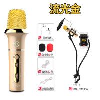 ?K歌麦克风手机K歌唱吧话筒直播设备声卡套装电容喊麦变声神器家用苹果安卓oppo华为vivo通用录音 +MV支架 官方