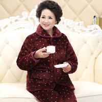 秋冬季法兰绒睡衣女夹棉加厚中老年珊瑚绒棉袄家居服妈妈款奶奶装