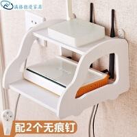 桌面收纳架 电视机顶盒架子免打孔路由器机顶盒电话收纳架壁挂置物架 白色
