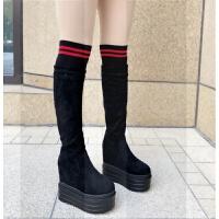 15CM�^膝�L靴女秋冬季女鞋新款加�q高筒坡跟�L筒靴超高跟鞋靴子女SN9446