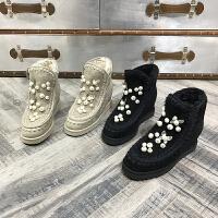 欧洲风格站2017冬季新款女鞋羊皮毛一体棉靴坡跟保暖雪地靴内增高