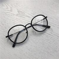 文艺复古椭圆形眼镜女日常休闲百搭装饰大框平光镜框男可配近视