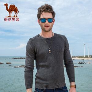 骆驼男装 2017年秋季新款圆领套头绣标纯色男青年长袖针织衫
