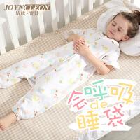 婧麒纱布睡袋婴儿夏季薄款背心式分腿宝宝睡袋婴幼儿短袖蘑菇轻薄