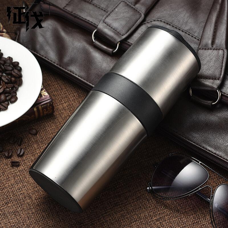 征伐 便携咖啡机 多功能不锈钢手摇咖啡豆研磨机一体式保温手冲咖啡杯户外旅行出差便携式咖啡机 研磨过滤保温 让您随时随地一杯暖咖啡