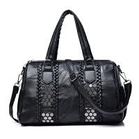 波士顿包新款时尚铆钉手提女包羊皮流苏百搭单肩斜跨包SN8157 黑色