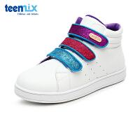 天美意春秋季单鞋多彩魔术贴儿中帮童鞋子男女儿童运动鞋小白鞋DX0247