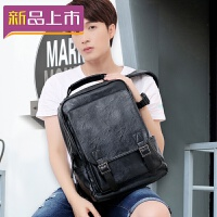 2018双肩包男包包韩版青年皮包男士背包休闲电脑大学生书包旅行包潮流 黑色