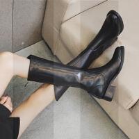 欧美2018冬新款圆头长靴女中跟粗跟长筒靴骑士靴高筒靴高靴及膝靴SN6383 黑色 皮里