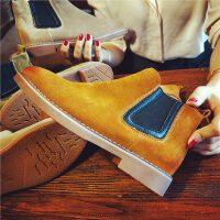 欧洲站秋季新款磨砂真皮短靴女平跟舒适切尔西靴及裸靴女靴子单靴