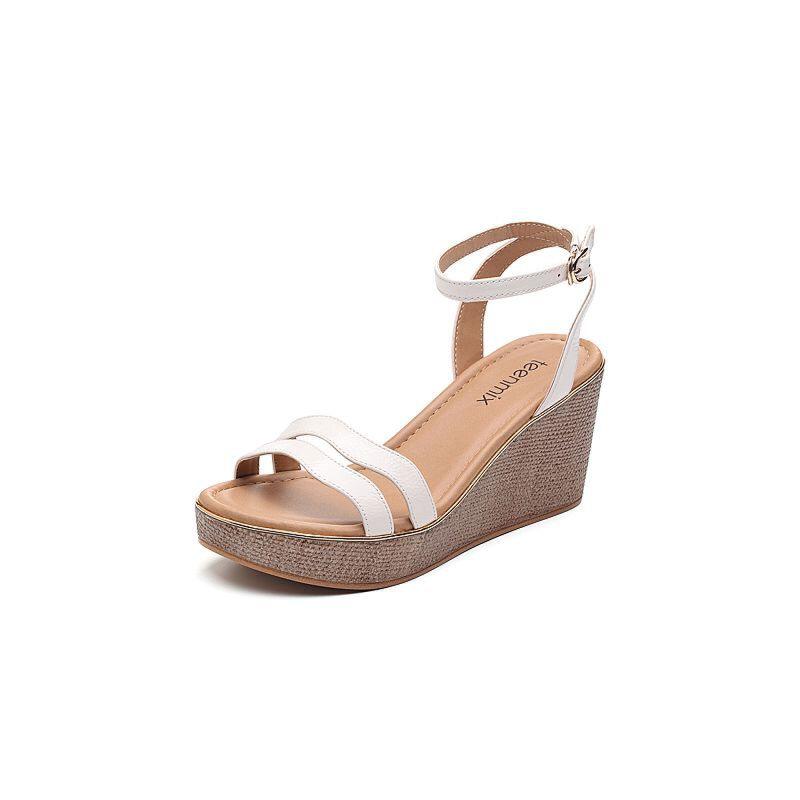 Teenmix/天美意2018夏专柜同款漆牛皮革多条带通勤风坡跟女凉鞋CC404BL8