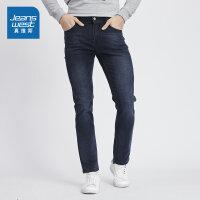 [每满400减150]真维斯男装 2018秋装新款弹性修身商务牛仔裤