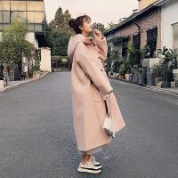 冬季宽松显瘦小个子粉色中长款妮子外套