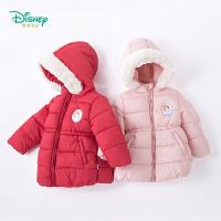 迪士尼Disney童装 女童外套秋冬新装公主索菲娅中长款保暖衣服宝宝连帽高腰大衣184S989