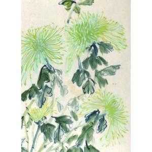 知名画家  郭怡踪 《菊 》67*43cm,纸本软片,品如图。