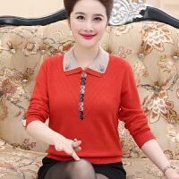 妈妈春秋打底衫女长袖新款外穿貂绒毛衣40-50岁短款中老年羊绒衫