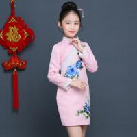 女童旗袍长袖冬装新款小女孩民族风粉色连衣裙改良儿童中式唐装裙 粉色