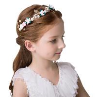 新款六一儿童头饰儿童花环花童女童头花配饰婚纱礼服配饰花环6618 白色