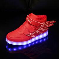儿童发光鞋男童运动板鞋亮灯鞋USB充电翅膀led女童闪光七彩夜光鞋 红色加绒 A99 绒