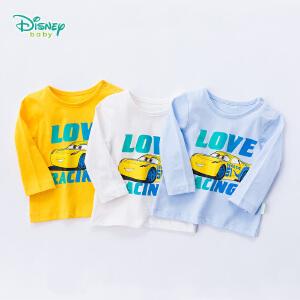 迪士尼Disney童装 男童t恤长袖秋季新款纯棉上衣宝宝肩开扣长袖圆领休闲服183S1060