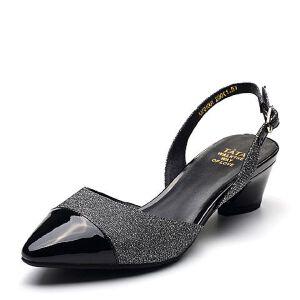 Tata/他她2018夏专柜同款拼接通勤尖头猫跟鞋女凉鞋AAF01BH8