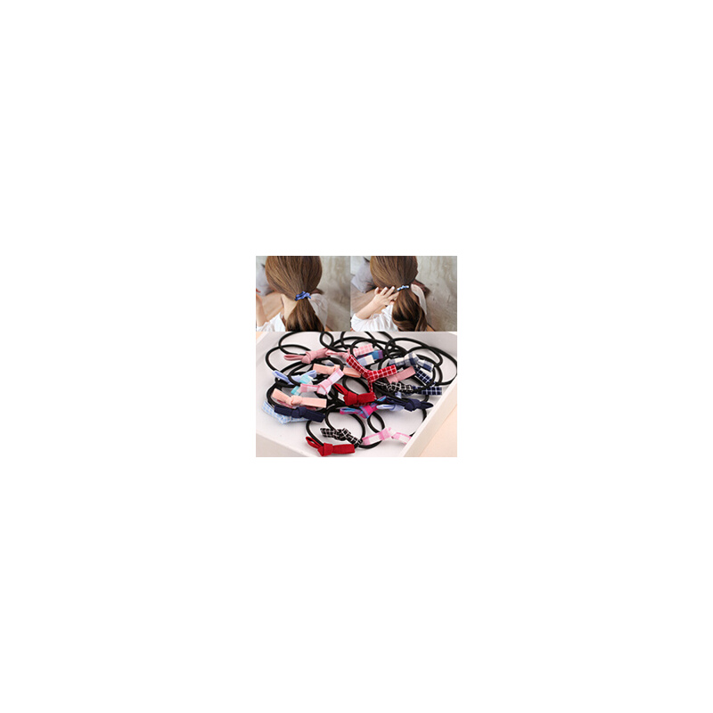 5-10条装头绳头饰韩国发饰仿珍珠发圈马尾辫扎丸子头基础皮筋 仿珍珠发圈5件套